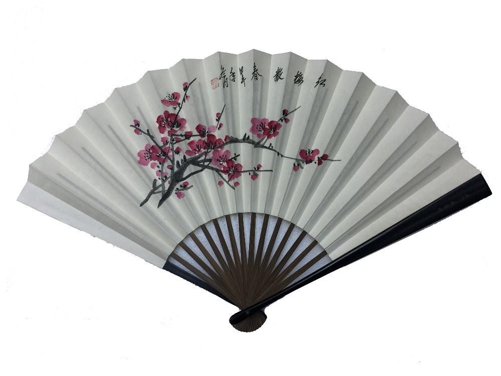 NO.525 頭青手繪真絲文人扇(大)