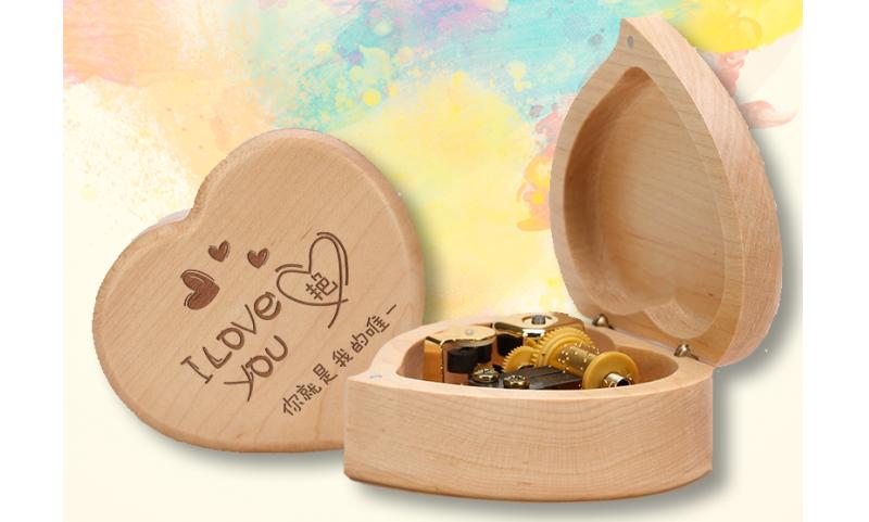 手工雕刻心型音樂盒