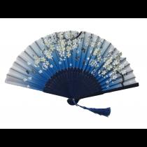 NO.556 二青印刷花卉仿絹扇