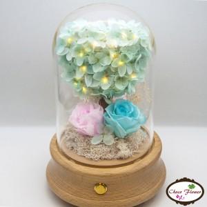 心型綉球樹藍牙保鮮花燈