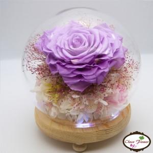 心形玫瑰保鮮花水晶球燈