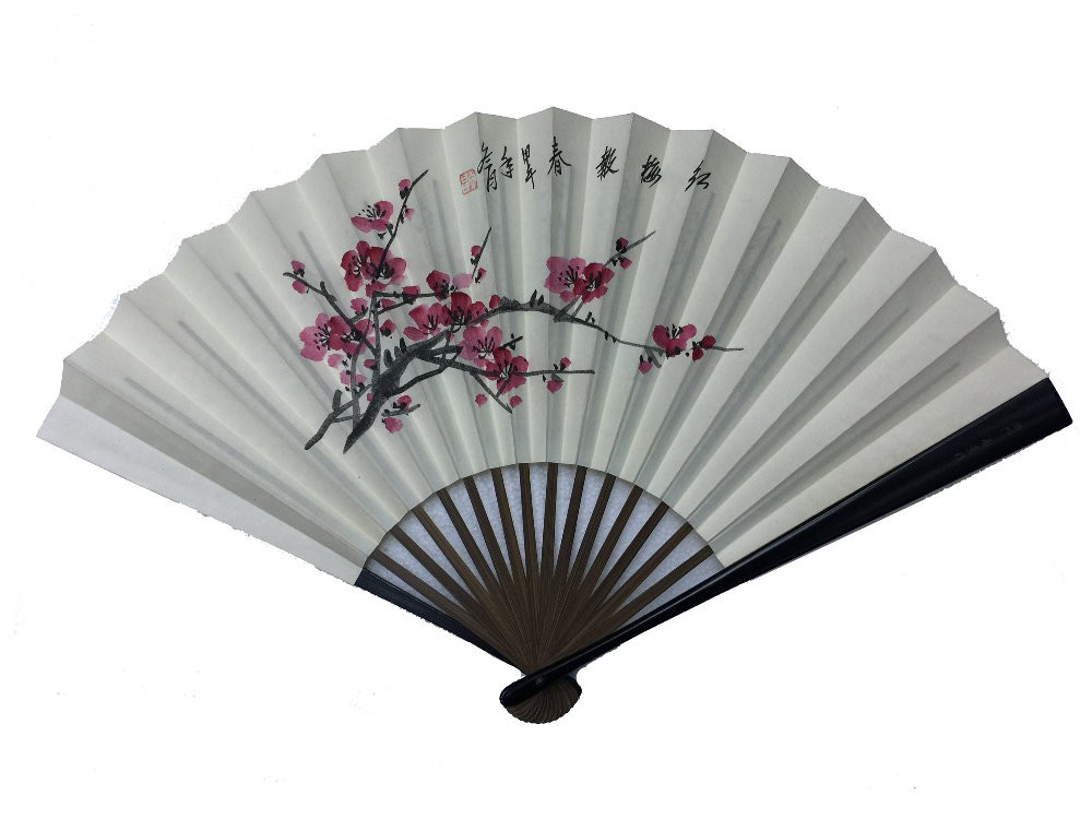 NO.525 Hand-painted folding silk fan (Large)