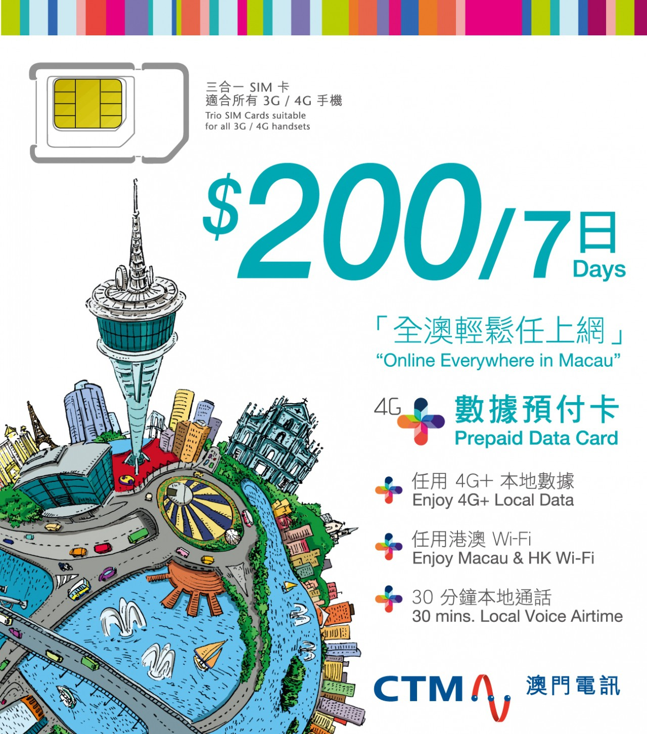 4G  Prepaid card 「 Macau」(7 Days)