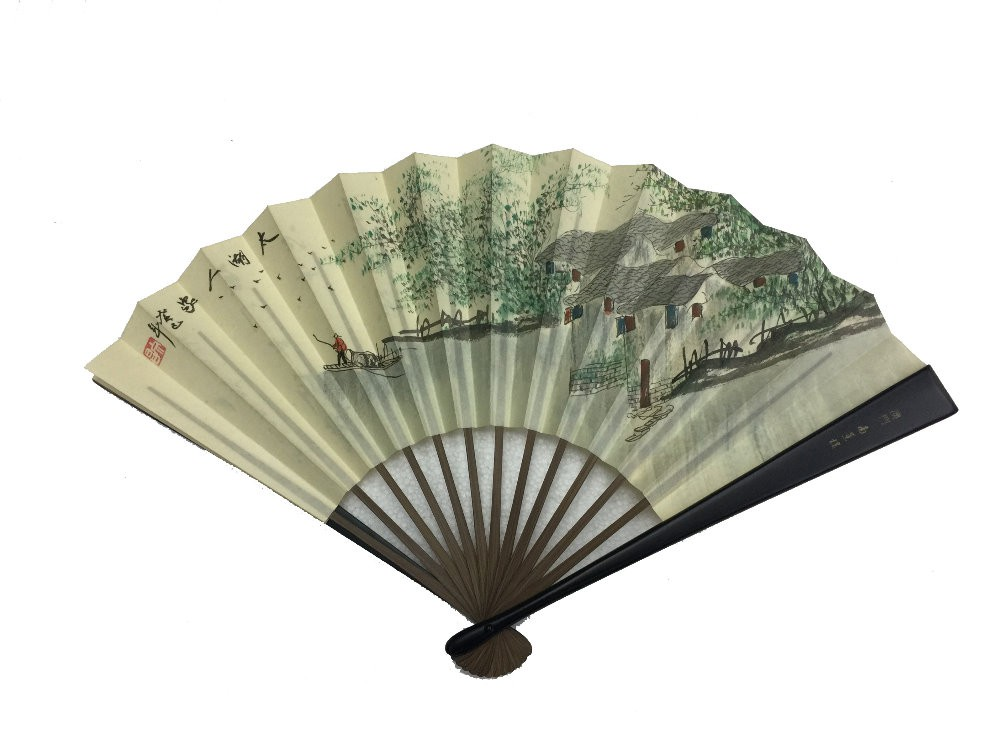 NO.529 Hand-painted folding silk fan (Small)