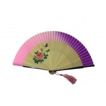 NO.547 Hand-painted real silk folding fan (progressive colours) - Floral and butterfly themes