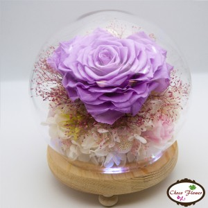 Preserved Flower Crystal ball light(Heart-shaped Rose)